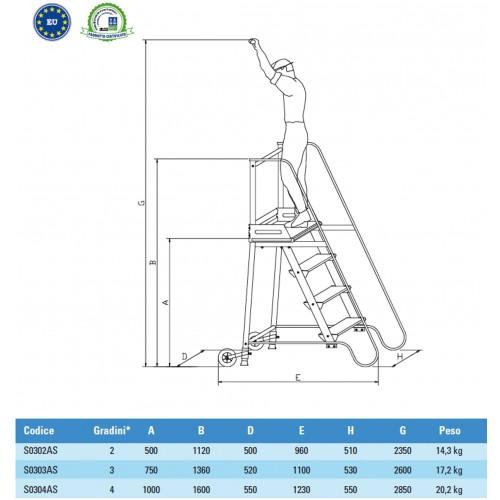 Scala a castello sgabello - SG in acciaio INOX e alluminio - 2 Scalini H 50 cm  S0302AS