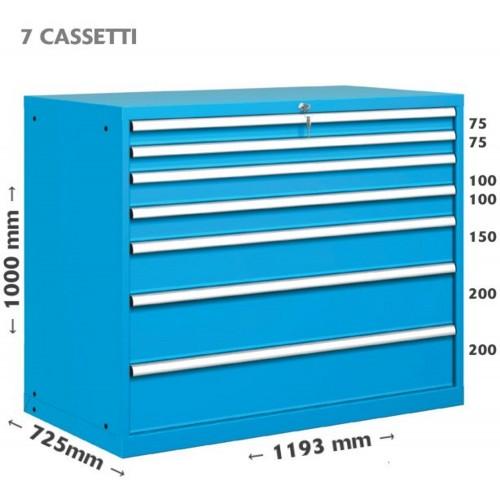 CASSETTIERA METALLO METALLO INDUSTRIALE OFFICINA 64 X 36 Eh (L 1193 x P 725 x H 1000) 7 CASSETTI 10-61000-01 CASSETTIERE META...