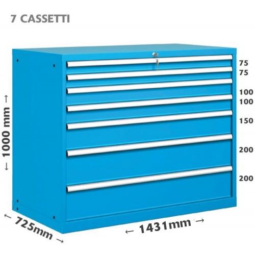 CASSETTIERA METALLO METALLO INDUSTRIALE OFFICINA 78 X 36 Eh (L 1431 x P 725 x H 1000) 7 CASSETTI 10-71000-01 CASSETTIERE META...