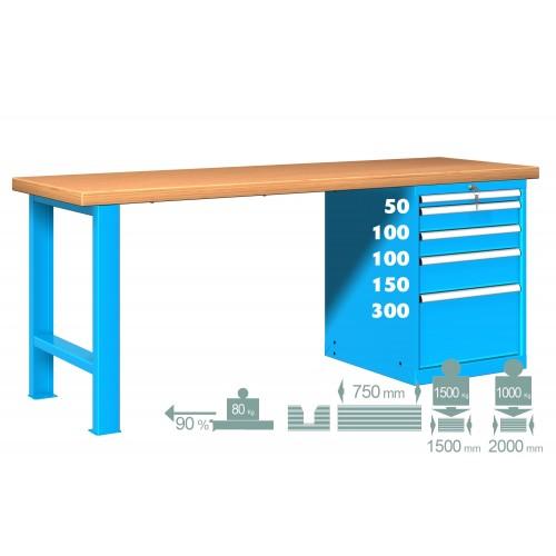 BANCO LAVORO PIANO LEGNO CON 5 CASSETTI PROFESSIONALE 2000 x 750 mm portata 800 KG. S44-80207-007 BANCHI LAVORO