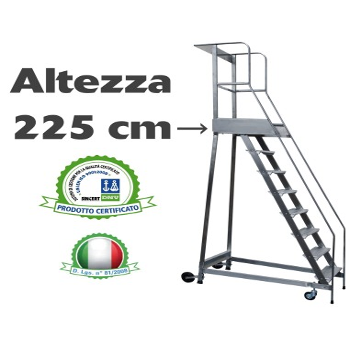 Scala a castello palchetto 9 SCALINI H 225 CM Magazzino Industria in acciaio INOX e alluminio - disponibili ricambi S0309A SC...