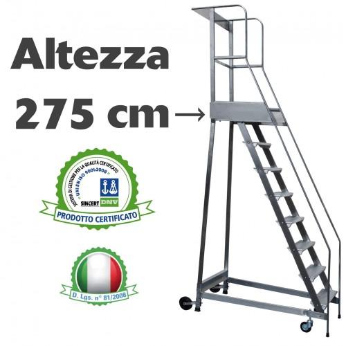 Scala a castello palchetto 11 SCALINI H 275 CM Magazzino Industria in acciaio INOX e alluminio - disponibili ricambi S0311A S...