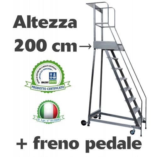 Scala a castello palchetto con FRENO PEDALE - 8 SCALINI H 200 CM in acciaio INOX e alluminio - disponibili ricambi S0308A/P S...