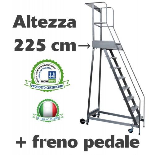 Scala a castello palchetto con FRENO PEDALE - 9 SCALINI H 225 CM in acciaio INOX e alluminio - disponibili ricambi S0309A/P S...