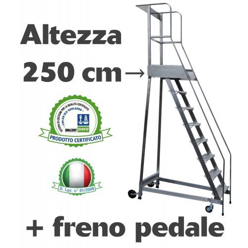 Scala a castello palchetto con FRENO PEDALE - 10 SCALINI H 250 CM in acciaio INOX e alluminio - disponibili ricambi S0310A/P ...