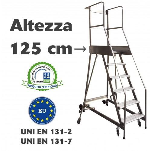 Scala a castello palchetto 5 SCALINI H 125 CM UNI EN 131-7 Norma di sicurezza europea in acciaio INOX e alluminio S1805A CAST...