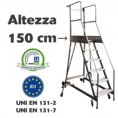 Scala a castello palchetto 6 SCALINI H 150 CM UNI EN 131-7 Norma di sicurezza europea in acciaio INOX e alluminio S1806A CAST...