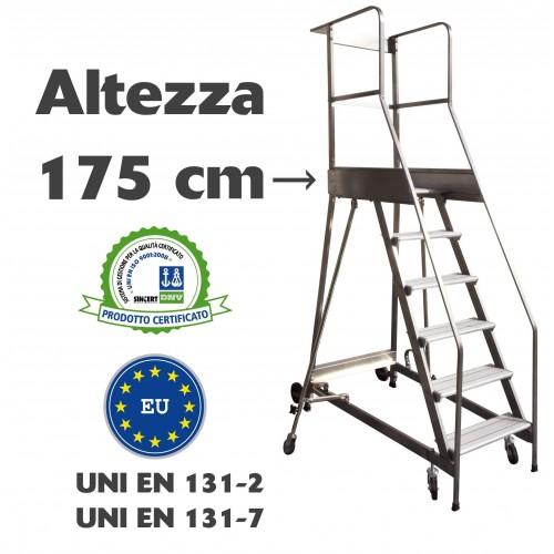 Scala a castello palchetto 7 SCALINI H 175 CM UNI EN 131-7 Norma di sicurezza europea in acciaio INOX e alluminio S1807A CAST...