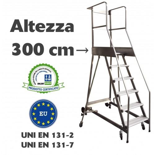 Scala a castello palchetto 12 SCALINI H 300 CM UNI EN 131-7 Norma di sicurezza europea in acciaio INOX e alluminio S1812A CAS...