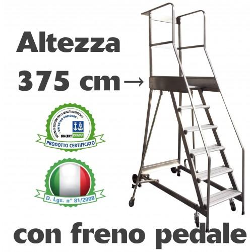 Scala a castello palchetto 15 SCALINI H 375 CM CON FRENO A PEDALE D.L. 81/2008 in acciaio INOX e alluminio S1815A/P SCALA CAS...