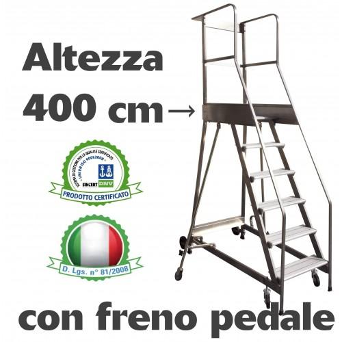 Scala a castello palchetto 16 SCALINI H 400 CM CON FRENO A PEDALE D.L. 81/2008 in acciaio INOX e alluminio S1816A/P SCALA CAS...