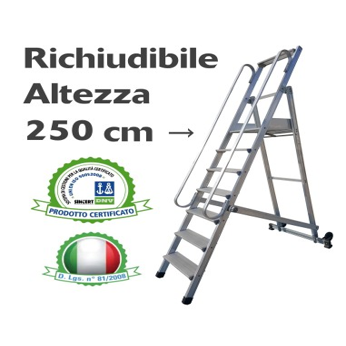 Scala a Castello Palchetto Richiudibile Pieghevole 10 SCALINI H 250 CM Professionale Magazzino Industria in alluminio S2410 S...
