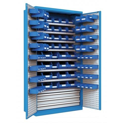 Cassettiere Industriali Metallo.Armadio Industriale Officina Metallo Porte Battente E Cassetti Con Contenitori L 103 X P 55 X H 200 Cm