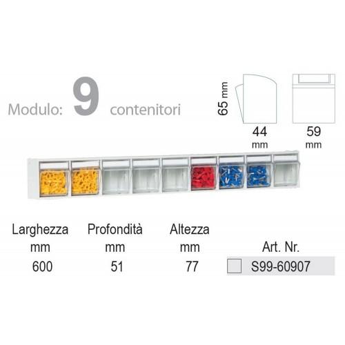 Unibox Cassettiera 9 cassetti trasparenti Basculanti in Plastica Porta minuteria S99-60907 UNIBOX Porta minuteria scaffale