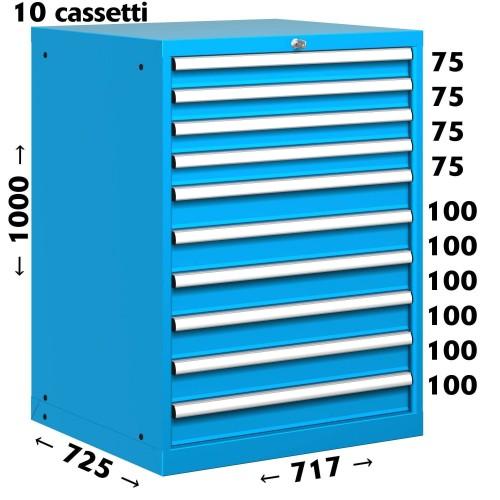 CASSETTIERA OFFICINA INDUSTRIALE PORTA UTENSILI 36 X 36 Eh (L 717 x P 725 x H 1000) 10 CASSETTI ESTRAZIONE 100%  S10-31000-32/07