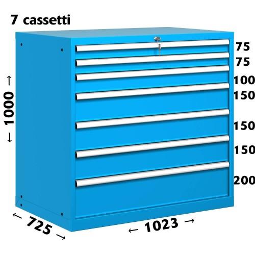 CASSETTIERA OFFICINA INDUSTRIALE PORTA UTENSILI 54 X 36 Eh (L 1023 x P 725 x H 1000) 7 CASSETTI ESTRAZIONE 90%  S10-51000-08/07
