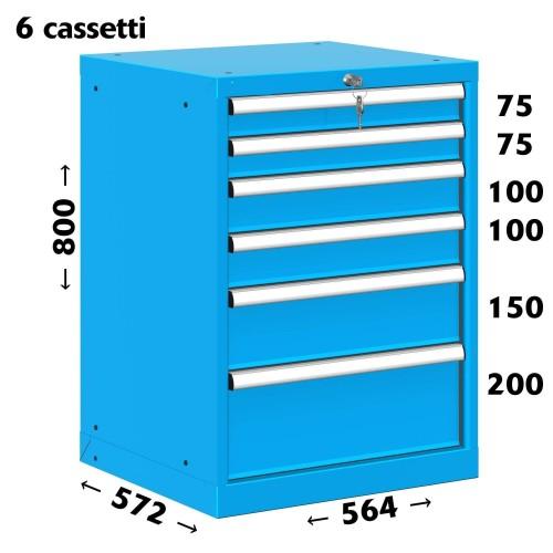CASSETTIERA TOP OFFICINA INDUSTRIALE PORTA UTENSILI 27 X 27 Eh (L 564 x P 572 x H 800) 6 CASSETTI ESTRAZIONE 90%  S11-20800-0...
