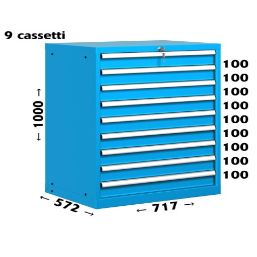 CASSETTIERA OFFICINA INDUSTRIALE PORTA UTENSILI 36 X 27 Eh (L 717 x P 572 x H 1000) 9 CASSETTI ESTRAZIONE 100% S11-31000-12 C...