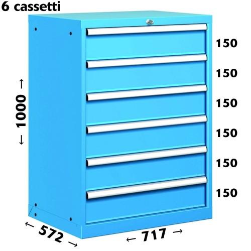 CASSETTIERA OFFICINA INDUSTRIALE PORTA UTENSILI 36 X 27 Eh (L 717 x P 572 x H 1000) 6 CASSETTI ESTRAZIONE 100% S11-31000-15 C...