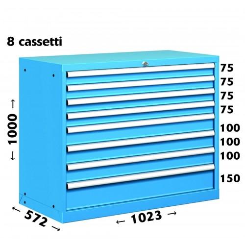 CASSETTIERA OFFICINA INDUSTRIALE PORTA UTENSILI 54 X 27 Eh (L 1023 x P 572 x H 850) 8 CASSETTI ESTRAZIONE 100%  S11-50850-14/07