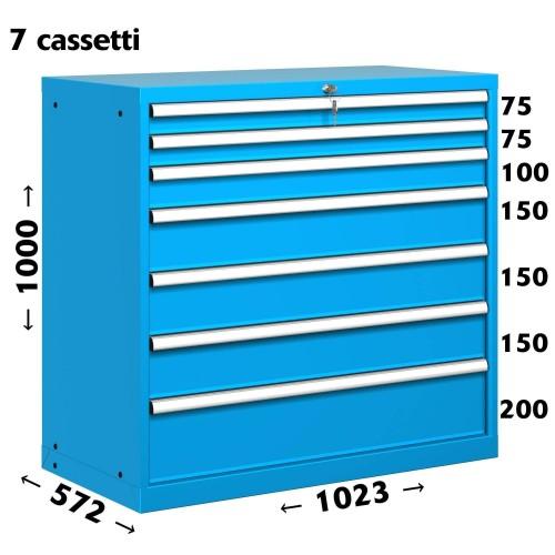 CASSETTIERA OFFICINA INDUSTRIALE PORTA UTENSILI 54 X 27 Eh (L 1023 x P 572 x H 1000) 7 CASSETTI ESTRAZIONE 100% S11-51000-06 ...