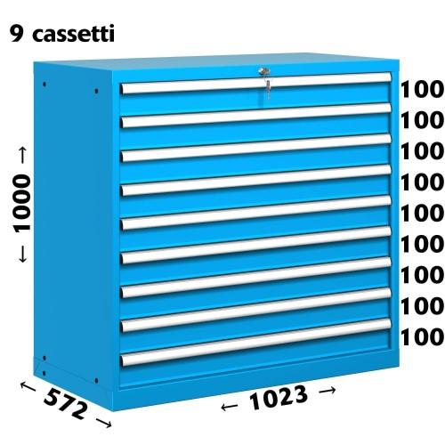 CASSETTIERA OFFICINA INDUSTRIALE PORTA UTENSILI 54 X 27 Eh (L 1023 x P 572 x H 1000) 9 CASSETTI ESTRAZIONE 100% S11-51000-34 ...
