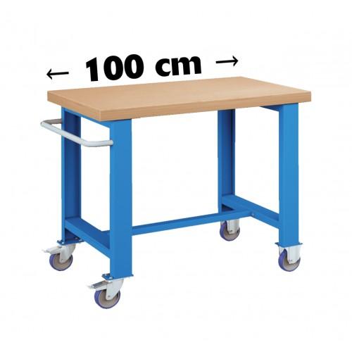 BANCO CARRELLO LAVORO PIANO LEGNO CON RUOTE PROFESSIONALE 1000 x 750 mm h 84 cm portata 400 KG. S43-80107-51 BANCHI LAVORO