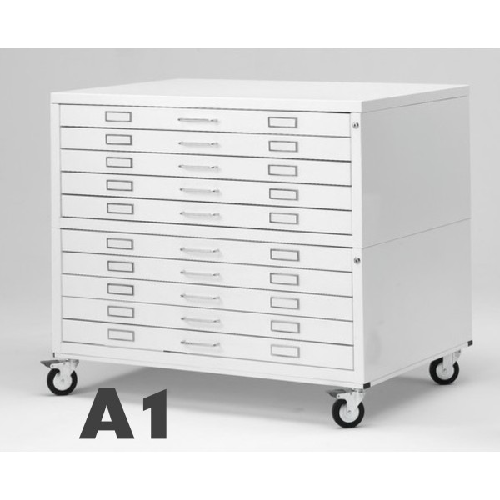 Cassettiera Portadisegni con ruote 10 Cassetti A1 Bianco componibile orizzontale cm 116x75.5x94h DT71-10R ARREDO UFFICIO