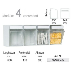 KIT Unibox Cassettiera 4 cassetti UN60407 Home