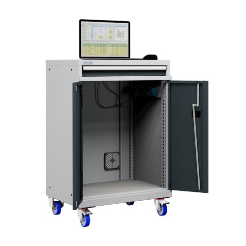 Mobile Porta Computer In Metallo.Carrello Porta Pc Notebook Professionale Con Ruote Cassetto E Vano