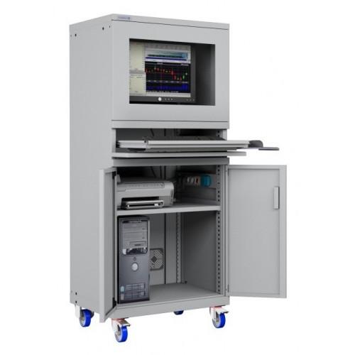 ARMADIO PORTA COMPUTER PC CON RUOTE PROFESSIONALE CON TASTIERA ESTRAIBILE + RIPIANO STAMPANTE- Impianto compreso  S17-61620A-...