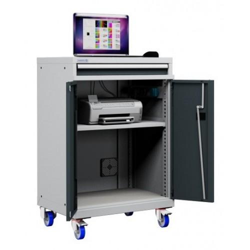 Postazione mobile porta Pc Notebook e Mensola Stampante con ruote cassetto e vano ventilato  S17-41000A-05/07