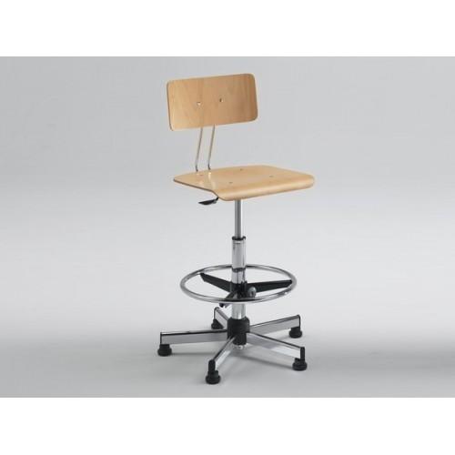 Sgabello con Schienale Disegnatore Professionale seduta in legno poggiapiedi con e senza ruote  M355FA