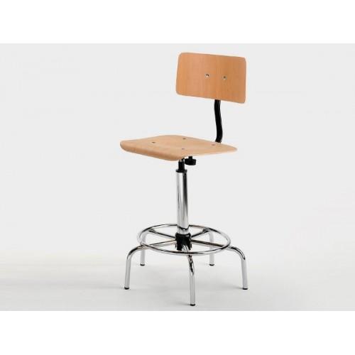 Sgabello con Schienale Disegnatore Professionale seduta in legno e poggiapiedi integrato  M345FA