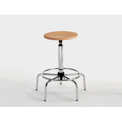 Sgabello con Tondello Disegnatore Professionale seduta in legno e poggiapiedi integrato  M347FA