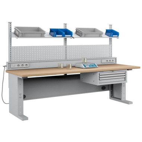 Banco da Laboratorio 2000 mm con impianto elettrico e cassetti + pannello con mensola  S48-84207-007/07