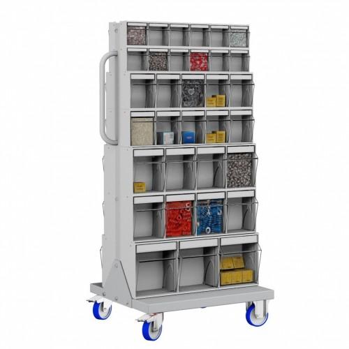 Unibox Carrello 3 - 66 Cassetti Trasparenti Basculanti portaminuteria  UN6414703