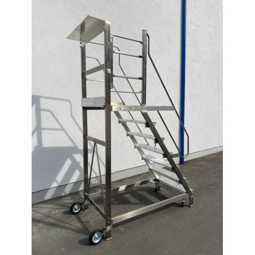 Scala Castello per soppalco con sbarco e cancello fino H 300 cm 12 Scalini in Acciaio INOX e Alluminio UNI EN 131-2  S12xxA/C