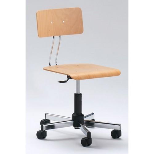 Sedia con Schienale Disegnatore Professionale seduta in legno con ruote  M342FA