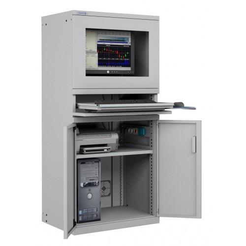 ARMADIO PORTA COMPUTER PC PROFESSIONALE CON TASTIERA ESTRAIBILE + RIPIANO - Impianto compreso  S17-61620-01/07