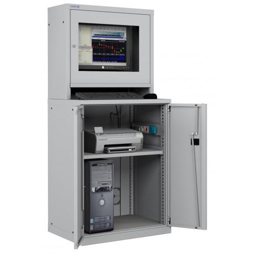 ARMADIO LCD PORTA COMPUTER con RIPIANO STAMPANTE PC PROFESSIONALE - Impianto compreso  S17-61670-01/07
