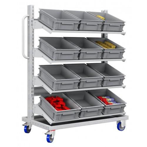 Carrello con 12 cassette contenitori professionale  S177-31100-12