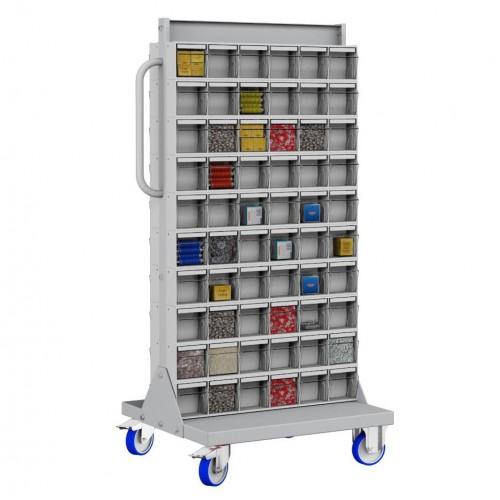 Unibox Carrello 6 - 120 Cassetti Trasparenti Basculanti Minuteria  UN6414711