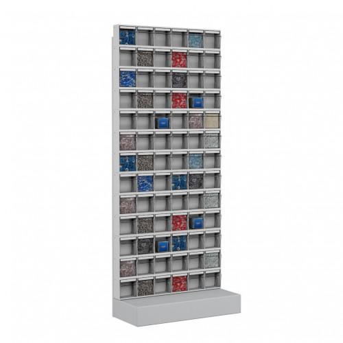Unibox SCAFFALE CON BASE H.150 78 Cassetti Trasparenti Basculanti minuteria Cassettiera  UN6315711