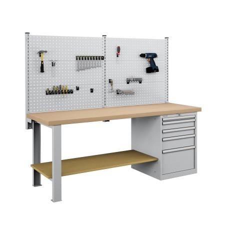Banco da lavoro 2000 mm con 5 cassetti e 6 pannelli  S144-80207-019/07
