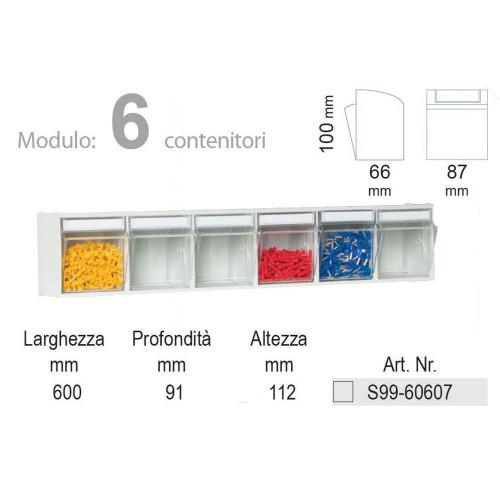 Cassettiere In Plastica Per Minuterie.Unibox Cassettiera 6 Cassetti Trasparenti Basculanti In Plastica Porta Minuteria