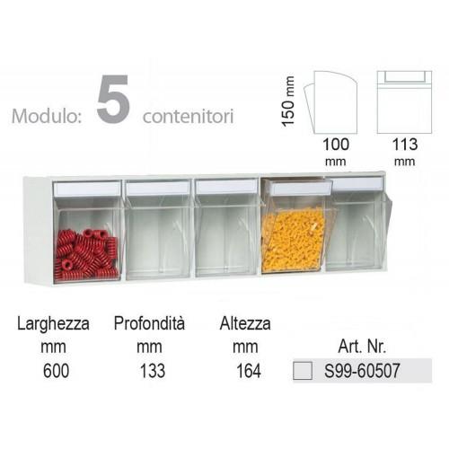 Unibox Cassettiera 5 cassetti trasparenti Basculanti in Plastica Porta minuteria S99-60507 UNIBOX Porta minuteria scaffale