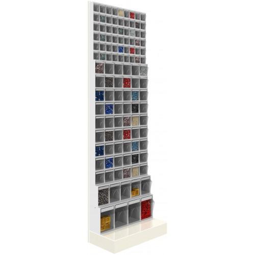 Unibox SCAFFALE CON BASE 117 cassetti trasparenti H.1950 parete porta minuteria Cassettiera UN6319701 UNIBOX Porta minuteria ...